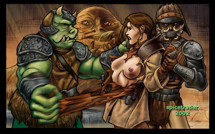 jabba and leia Aloy horizon zero dawn art