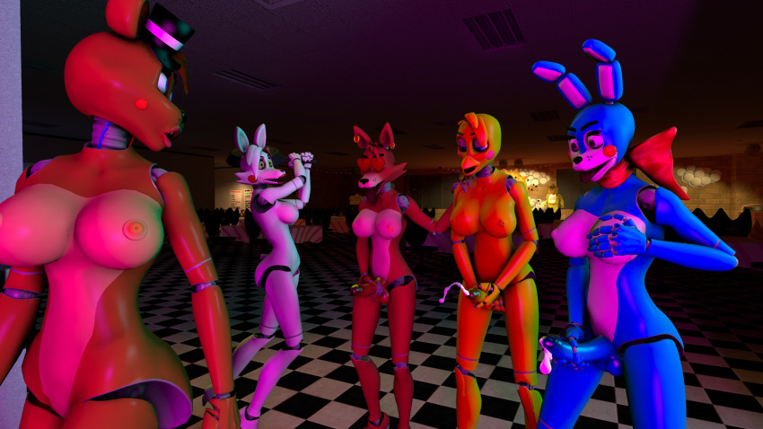 fnaf chica and toy foxy Tentacle p***